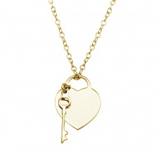 Wholesale Sterling Silver 925 Gold Plated Heart With Key Necklace - DIN00105GP