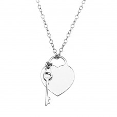 Wholesale Sterling Silver 925 Rhodium Plated Heart With Key - DIN00105RH