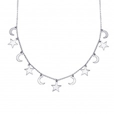 Wholesale Sterling Silver 925 Rhodium Plated Dangling Star and Moon Chain Necklace - DIN00106RH