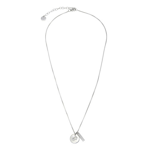 Wholesale Sterling Silver 925 Rhodium Plated Disc Foot Print Box Chain Necklace - DIN00107RH