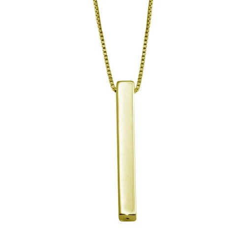 Wholesale Sterling Silver 925 Gold Plated Drop Down Bar Necklace - DIN00108GP