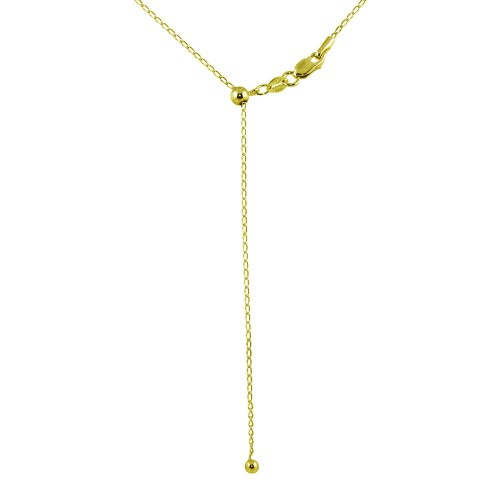 Wholesale Sterling Silver 925 Gold Plated Adjustable Link Slider Chain with Hanging Bead - DIN00109GP