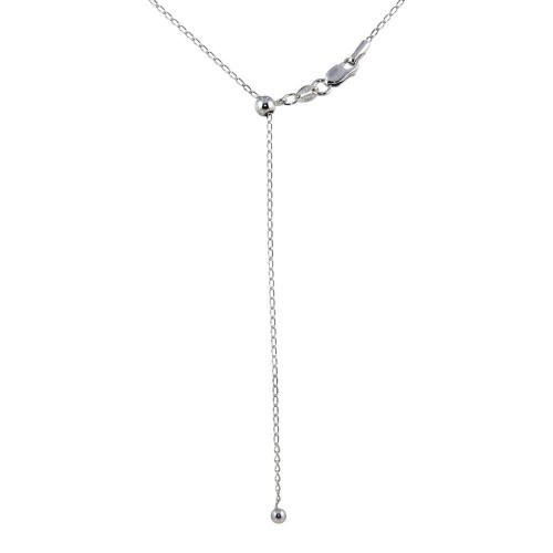 Wholesale Sterling Silver 925 Rhodium Plated Adjustable Link Slider Chain with Hanging Bead - DIN00109RH