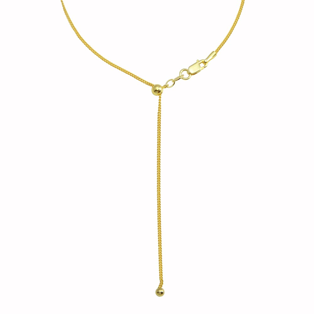 Wholesale Sterling Silver 925 Gold Plated Adjustable Curb Slider Chain with Hanging Bead- DIN00110GP