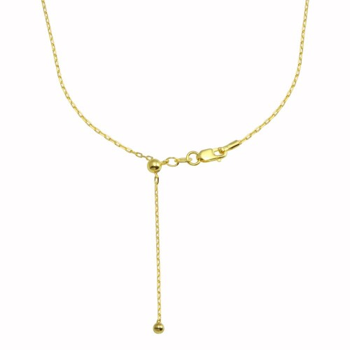 Wholesale Sterling Silver 925 Gold Plated Adjustable Link Slider Chain with Hanging Bead- DIN00111GP