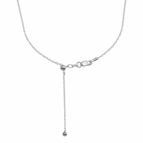 Wholesale Sterling Silver 925 Rhodium Plated Adjustable Link Slider Chain with Hanging Bead- DIN00111RH