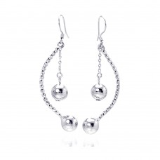 Wholesale Sterling Silver 925 Rhodium Plated Ball and Rope Earrings - DSE00039