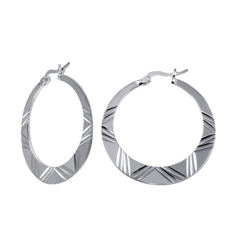 Wholesale Sterling Silver 925 Rhodium Plated Designed Snap Hoop - E00005