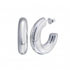 Wholesale Sterling Silver 925 Rhodium Plated Semi Hollow Hoop Earrings - ECE00064RH