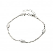 Wholesale Sterling Silver 925 Rhodium Plated Pop Corn Chain Italian Bracelet with Oval Bead Accents - ECB00018B-RH
