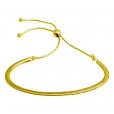 Wholesale Sterling Silver 925 Gold Plated Omega Chain Lariat Bracelet - ECB00104GP