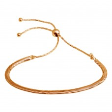 Wholesale Sterling Silver 925 Rose Gold Plated Omega Chain Lariat Bracelet - ECB00104RGP