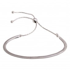Wholesale Sterling Silver 925 Rhodium Plated Omega Chain Lariat Bracelet - ECB00104RH