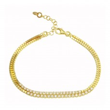 Wholesale Sterling Silver 925 Gold Plated Double Strand CZ Bracelet - ECB00111GP
