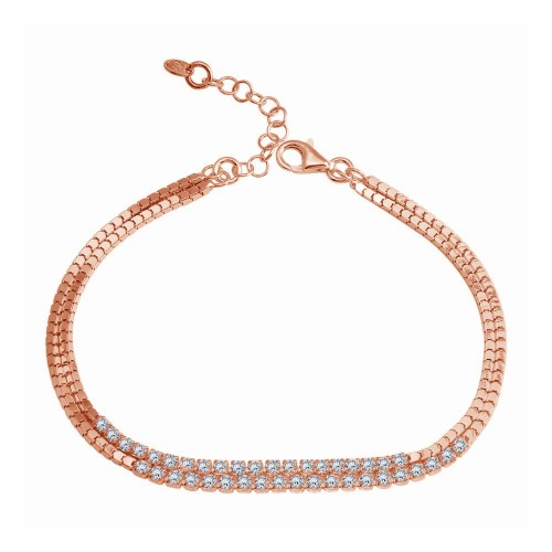 Wholesale Sterling Silver 925 Rose Gold Plated Double Strand CZ Bracelet - ECB00111RGP