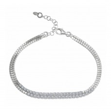Wholesale Sterling Silver 925 Rhodium Double Strand CZ Bracelet - ECB00111RH