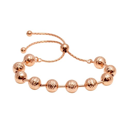 Wholesale Sterling Silver 925 Rose Gold Plated Bead Lariat Bracelet - ECB00116RGP