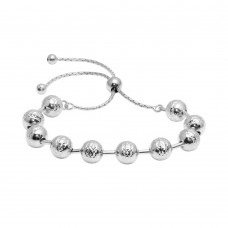 Wholesale Sterling Silver 925 Rhodium Plated Bead Lariat Bracelet - ECB00116RH