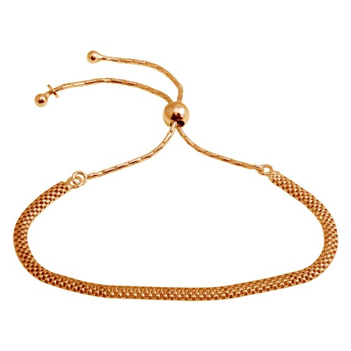 Wholesale Sterling Silver 925 Rose Gold Plated Mesh Chain Lariat Bracelet - ECB00117RGP