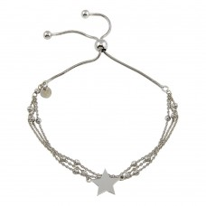 Wholesale Sterling Silver 925 Rhodium Plated Multi Chain Star Beaded Lariat Bracelet - ECB00118