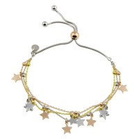 Wholesale Sterling Silver 925 3 Toned Plated Multi Chain Star Beaded Lariat Bracelet - ECB00119