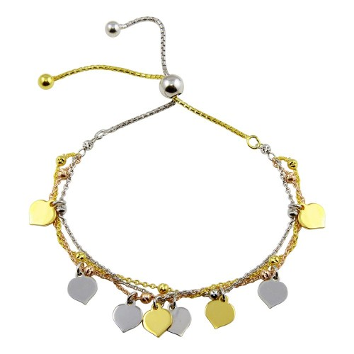 Wholesale Sterling Silver 925 3 Toned Plated Multi Chain Leaves Beaded Lariat Bracelet - ECB00120