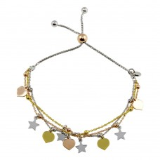 Wholesale Sterling Silver 925 3 Toned Plated Multi Chain Stars Leaves Beaded Lariat Bracelet - ECB00122