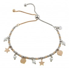 Wholesale Sterling Silver 925 2 Toned Plated Multi Chain Stars Leaves Beaded Lariat Bracelet - ECB00123
