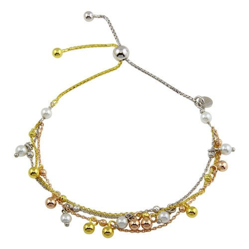 Wholesale Sterling Silver 925 3 Toned Plated Multi Chain Sythetic Pearl Beaded Lariat Bracelet - ECB00124