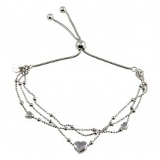 Wholesale Sterling Silver 925 3 Toned Plated Multi Chain Hearts Beaded Lariat Bracelet - ECB00126