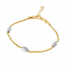 Wholesale Sterling Silver 925 Gold Plated Pop Corn Chain Italian Bracelet with Oval Bead Accents - ECB00129GP