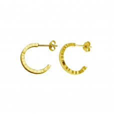 Wholesale Sterling Silver 925 Gold Plated Diamond Cut Semi Hoop Earrings 20mm - ECE00031GP