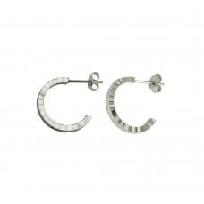 Wholesale Sterling Silver 925 Rhodium Plated Diamond Cut Semi Hoop Earrings 20mm - ECE00031RH