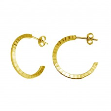 Wholesale Sterling Silver 925 Gold Plated Diamond Cut Semi Hoop Earrings 25mm - ECE00032GP