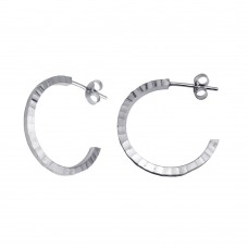Wholesale Sterling Silver 925 Rhodium Plated Diamond Cut Semi Hoop Earrings 25mm - ECE00032RH