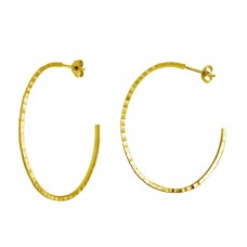 Wholesale Sterling Silver 925 Gold Plated Diamond Cut Semi Hoop Earrings 50mm - ECE00033GP