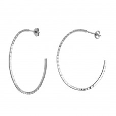 Wholesale Sterling Silver 925 Rhodium Plated Diamond Cut Semi Hoop Earrings 50mm - ECE00033RH