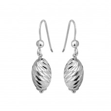 Wholesale Sterling Silver 925 Rhodium Plated Dangling Diamond Cut Teardrop Earrings - ECE00034RH