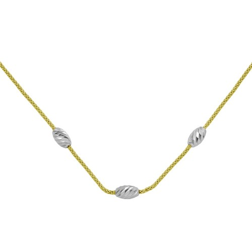Wholesale Sterling Silver 925 Gold Plated Three Bead Necklace - ECN00004GP