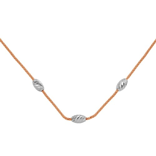 Wholesale Sterling Silver 925 Rose Gold Plated Three Bead Necklace - ECN00004RGP