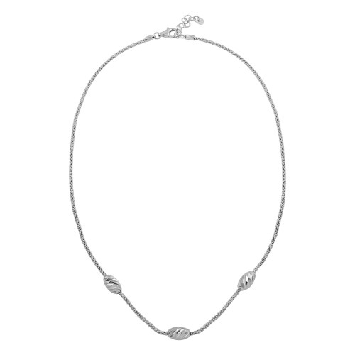 Wholesale Sterling Silver 925 Rhodium Plated Three Bead Necklace - ECN00004RH