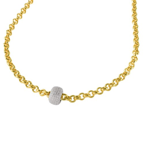 Wholesale Sterling Silver 925 Gold Plated Rolo Chain Necklace with Micro Pave CZ Round Pendant - ECN00008YW
