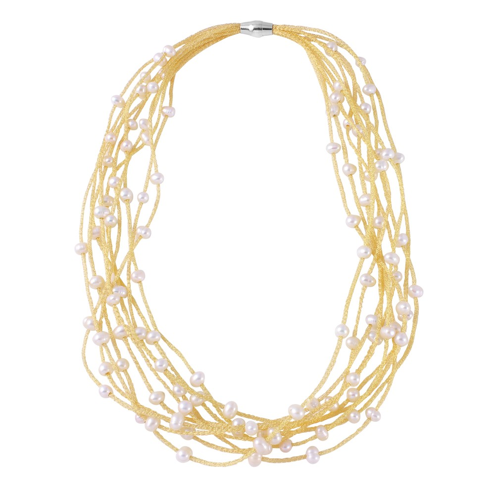 Wholesale Sterling Silver 925 Gold Plated Multi Strand With Fresh Pearl Accent Necklace - ECN00018RY