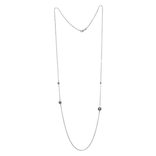 Wholesale Sterling Silver 925 Rhodium Plated Bead Necklace - ECN00027RH