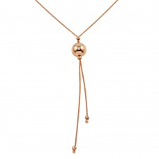Wholesale Sterling Silver 925 Rose Gold Plated Drop Bead Necklace - ECN00029RGP