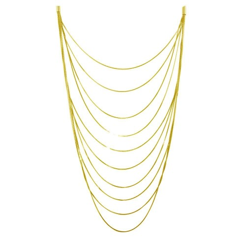 Wholesale Sterling Silver 925 Gold Plated Multiple Chain Necklace - ECN00031GP