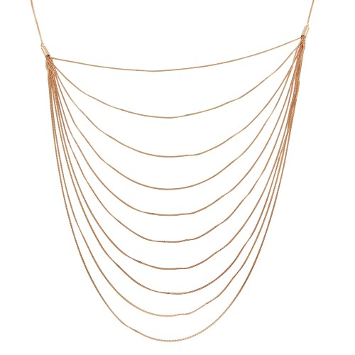 Wholesale Sterling Silver 925 Rose Gold Plated Multiple Chain Necklace - ECN00031RGP