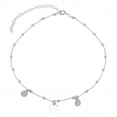 Wholesale Sterling Silver 925 Rhodium Plated Beaded Heart with CZ Chain Necklace - ECN00033RH
