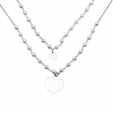 Sterling Silver Rhodium Plated Double Chain Synthetic Pearl and Heart Pendant Necklace - ECN00034RH