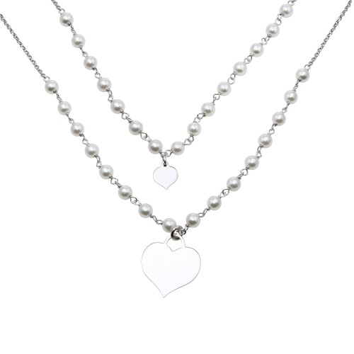 Wholesale Sterling Silver 925 Rhodium Plated Double Chain Synthetic Pearl and Heart Pendant Necklace - ECN00034RH